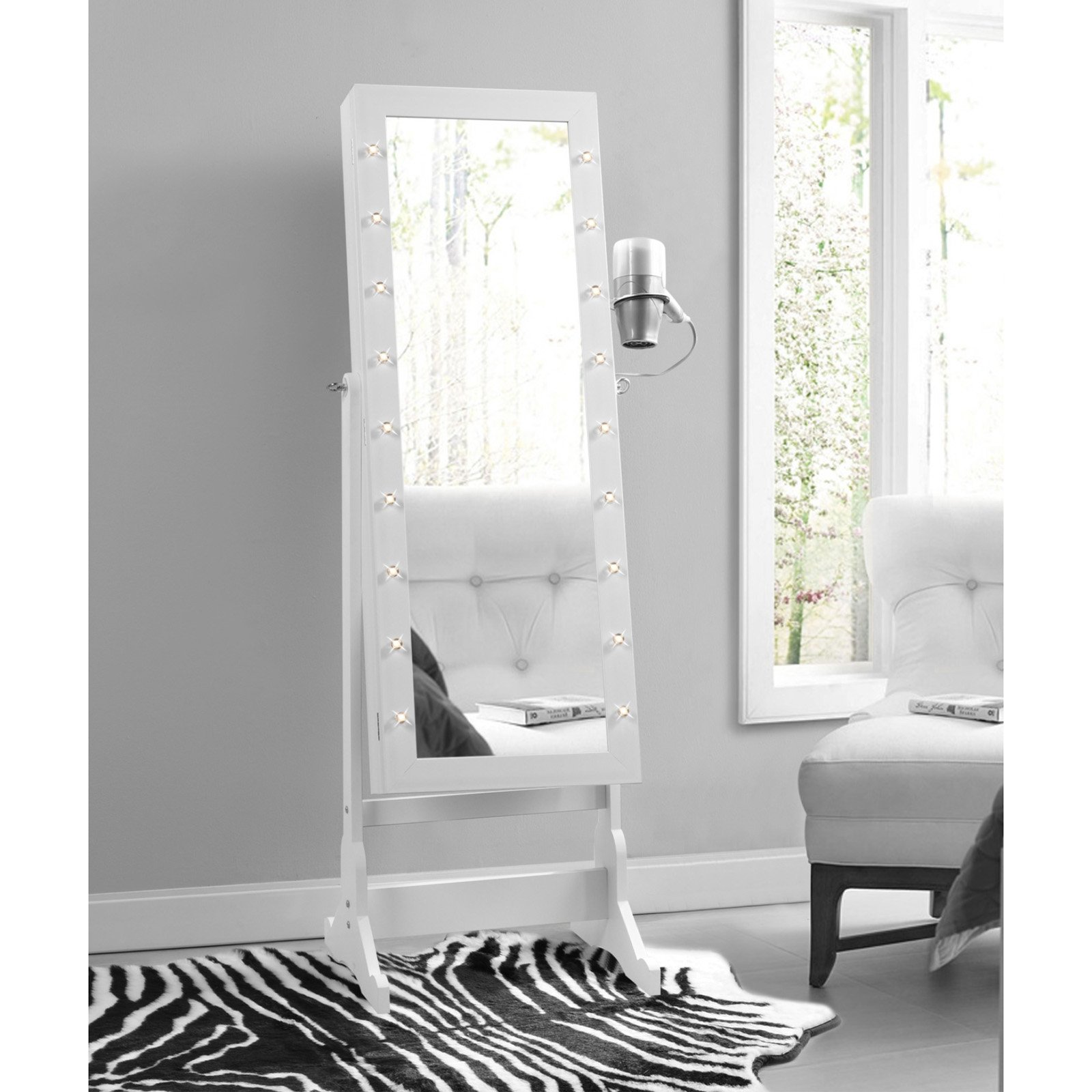 Inspired Home Gracie Marquee Lights Cheval Mirror Jewelry Armoire
