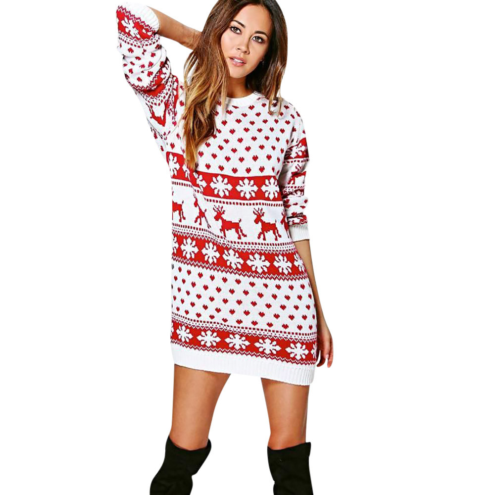 Outtop Women Xmas Christmas Print Long Sleeve Mini Dress