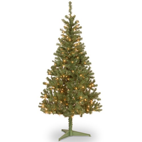 National Tree Pre-Lit 6' Canadian Grande Fir Wrapped Artificial Christmas Tree with 200 Clear Lights