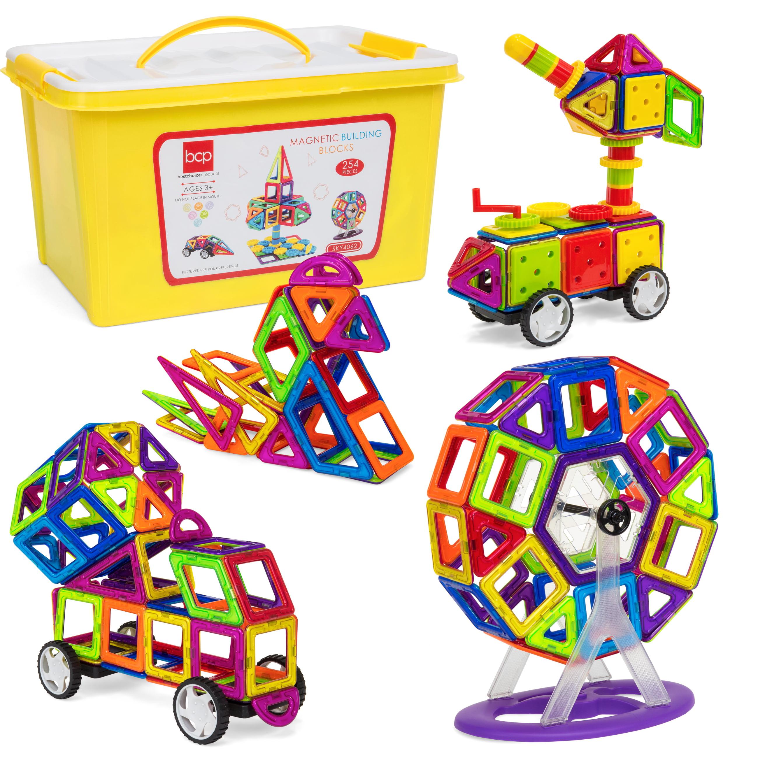Best Choice Products 254 Piece Kids Magnetic Building Block Tiles Educational Stem Toy Set W Storage Box Multicolor Walmart Com Walmart Com