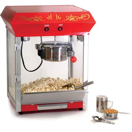 Elite EPM-450 Deluxe 4 oz Kettle Tabletop Popcorn Maker, Red