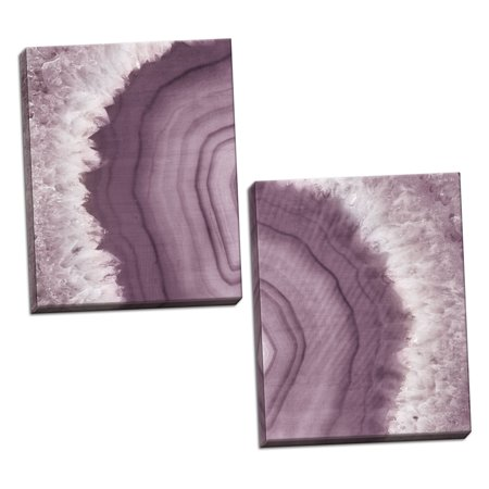 Caramel Agate - Gango Home Decor Contemporary Agate Geode I & II Plum by Wild Apple Portfolio (Ready to Hang); Two 16x20in Hand-Stretched Canvases