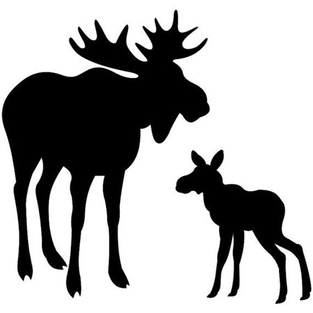5x7 Moose and Baby Stencil Made From 4 Ply - Baby Halloween Stencils