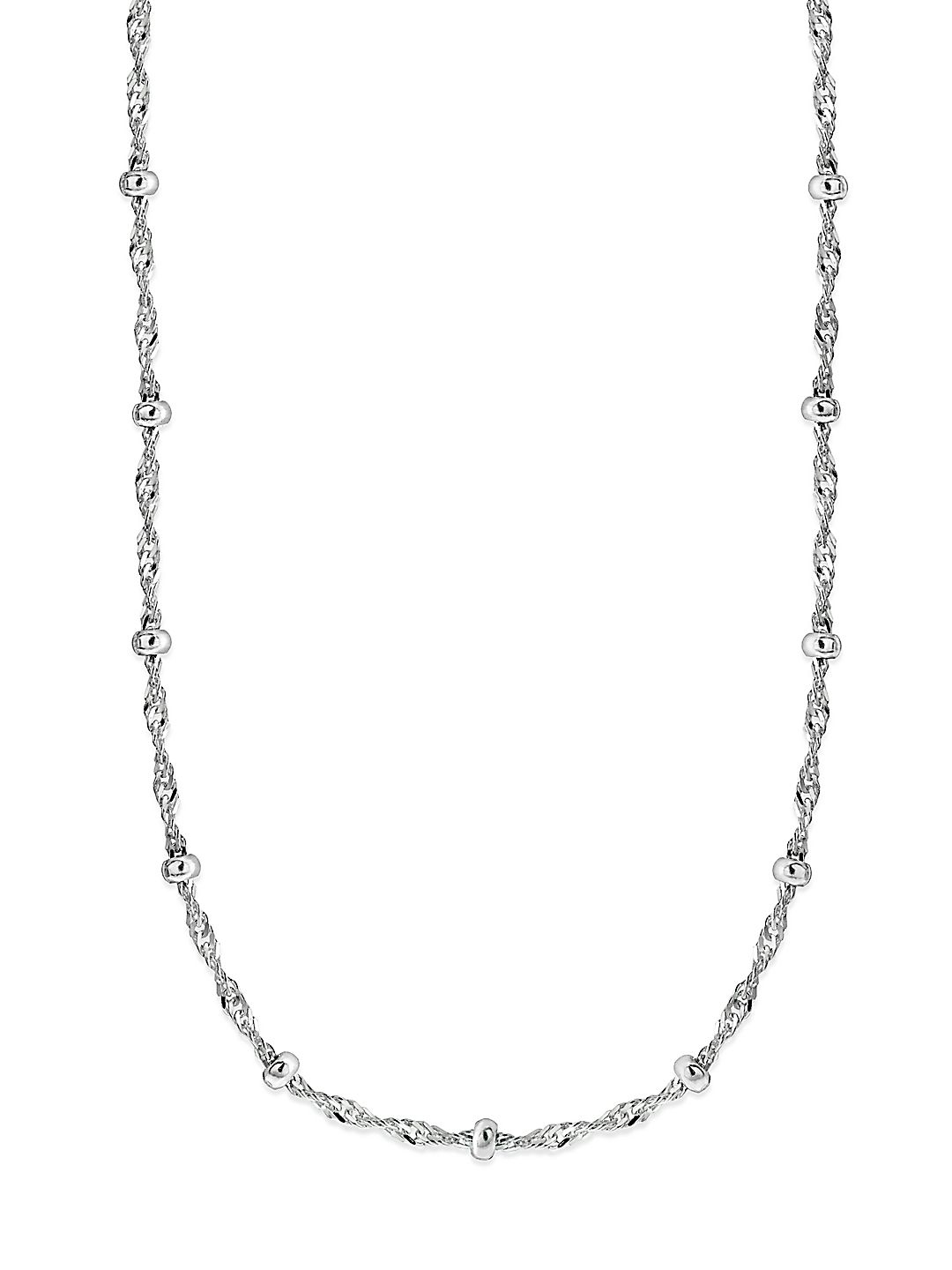 Beaded Twisted Chain Sterling Silver Station Necklace
