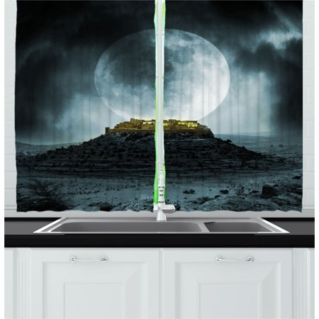 Night Sky Curtains 2 Panels Set, Big Full Moon over a Fantasy Castle on Hill Clouds Rocks Valley View, Window Drapes for Living Room Bedroom, 55W X 39L Inches, Green Black Slate Blue, by Ambesonne ()