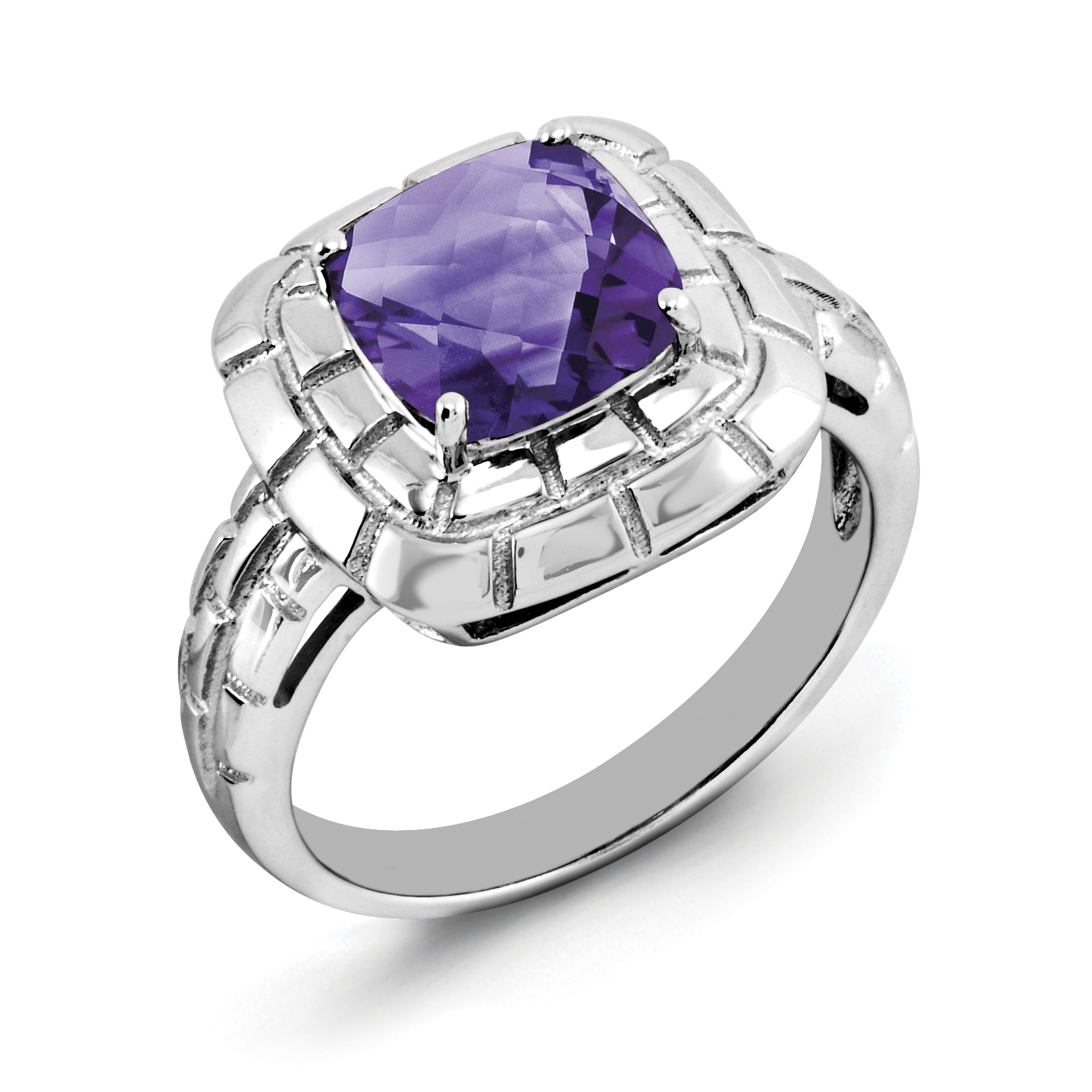 925 Sterling Silver Rhodium-plated Checker-Cut Amethyst Ring - image 2 of 2