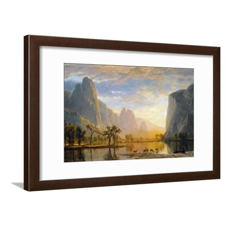 Valley of the Yosemite Traditional Landscape Painting Framed Print Wall Art By Albert (Valleys Framed Landscape Art)