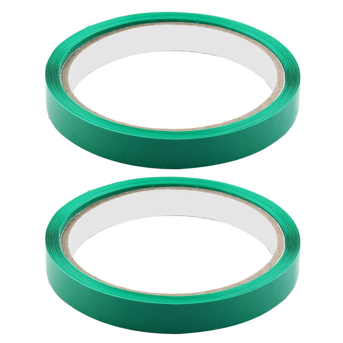 Supermarket PVC Vagetable Sealing Adhesive Tape Dark Green 1.2cm Width 2pcs