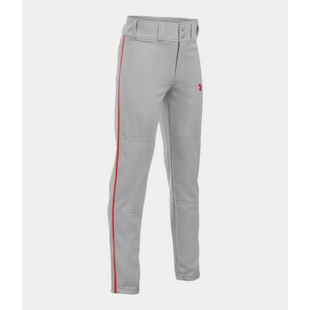 Under Armour Boys' UA Clean Up Piped Baseball Pants 1294739-075 Grey/Red