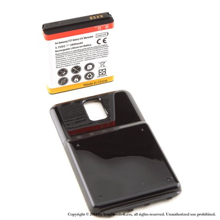 Skyrocket Extended Battery - YN4L® 3800mAh Extended Battery for Samsung Galaxy S II 2 Skyrocket i727 AT&T with Black Extended Back Cover