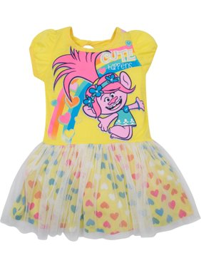 Trolls Toddler Girls' Tulle Dress Poppy, Yellow with Rainbow Hearts (4T)