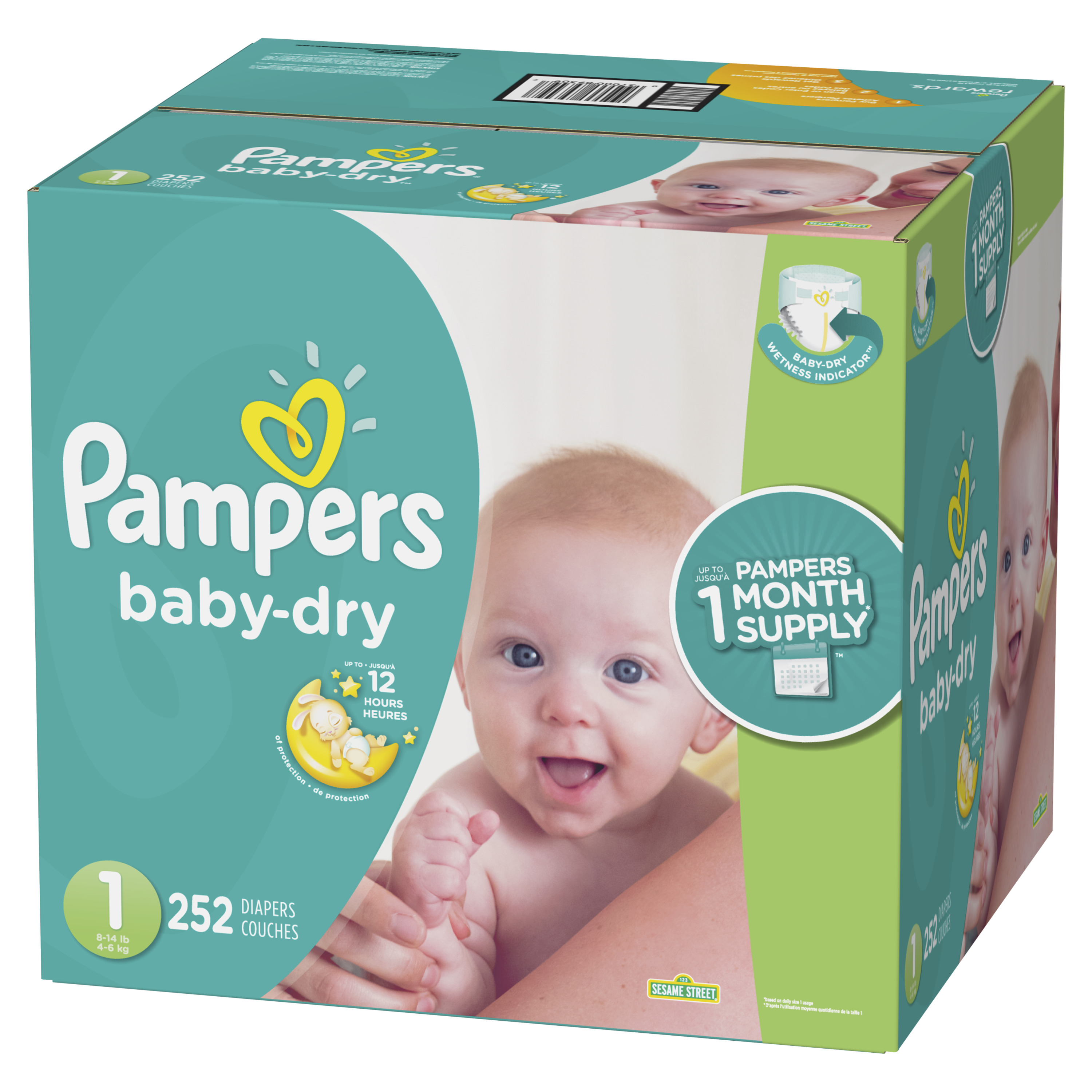 Pampers Baby Dry Diapers Size 1 252 Count Walmartcom