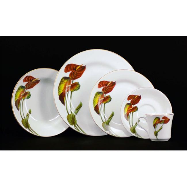 Euland China DSFL2-005A Anthurium Dinnerware Set - Service For 8