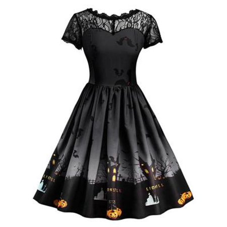 Fancyleo Women Vintage Halloween Dress Short Sleeve Lace Dress A Line Pumpkin Swing Dress Losse Mini Dresses Black - Haloween Dress
