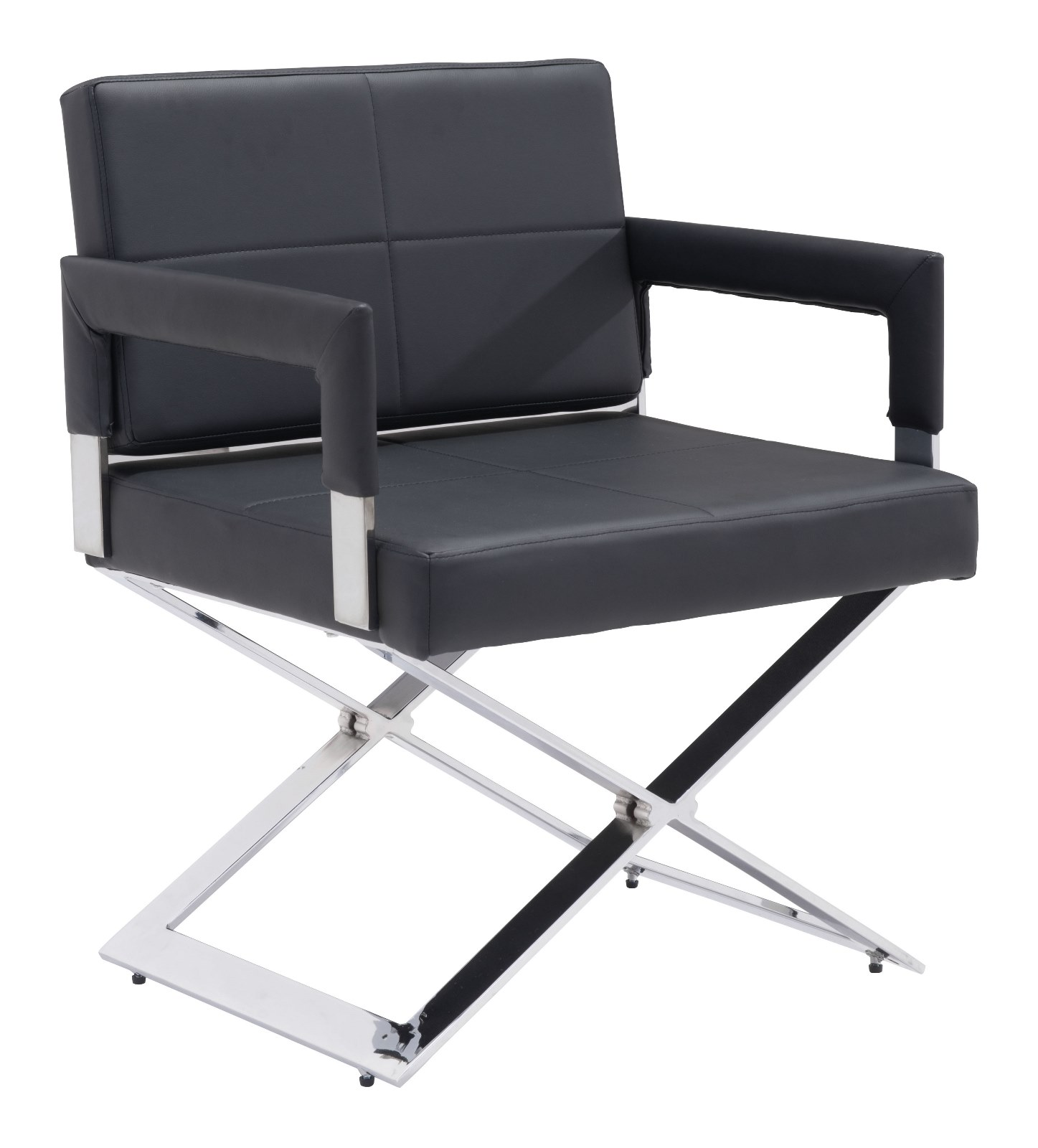 Modern Contemporary Dining Chair, Black, Faux Leather