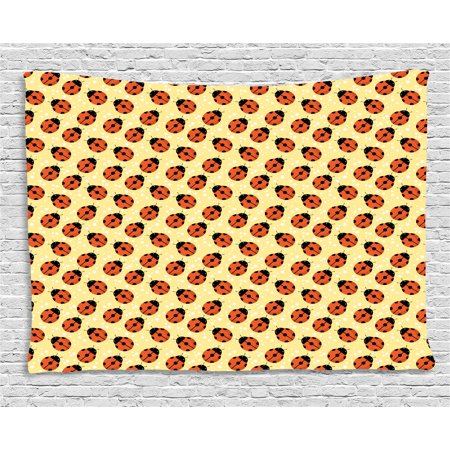 Ladybugs Tapestry, Cute Bugs Children Cartoon Style Stars Polka Dots Nature Inspirations, Wall Hanging for Bedroom Living Room Dorm Decor, 60W X 40L Inches, Mustard Vermilion Black, by - Cute Inspiration