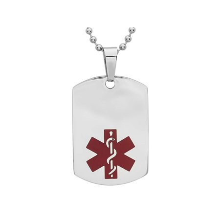 Men's Stainless Steel Red Medical Symbol Dog Tag Pendant 1 x 1.5 Inch Red Mens Earring