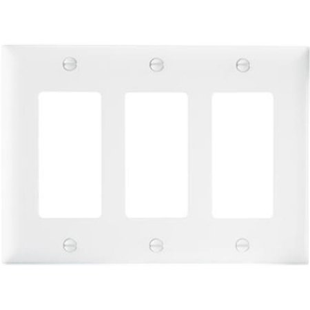 Pass & Seymour TP263WCC12 3 Gang 3 Decorator Opening Nylon Wall Plate, White Gang Claro Decorator Wall Plate
