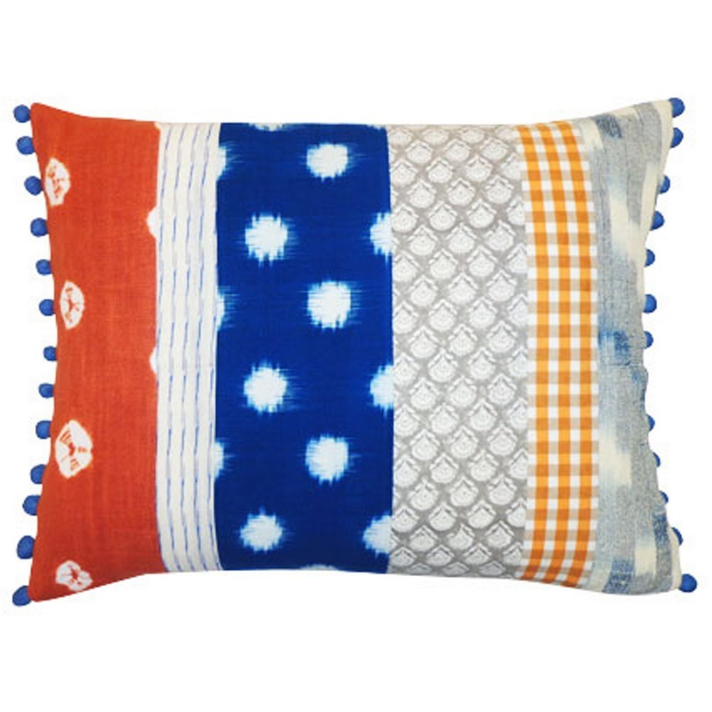 Vivai Home Rust Blue Patch Rectangle 12x 16 Cotton Feather Throw Pillow