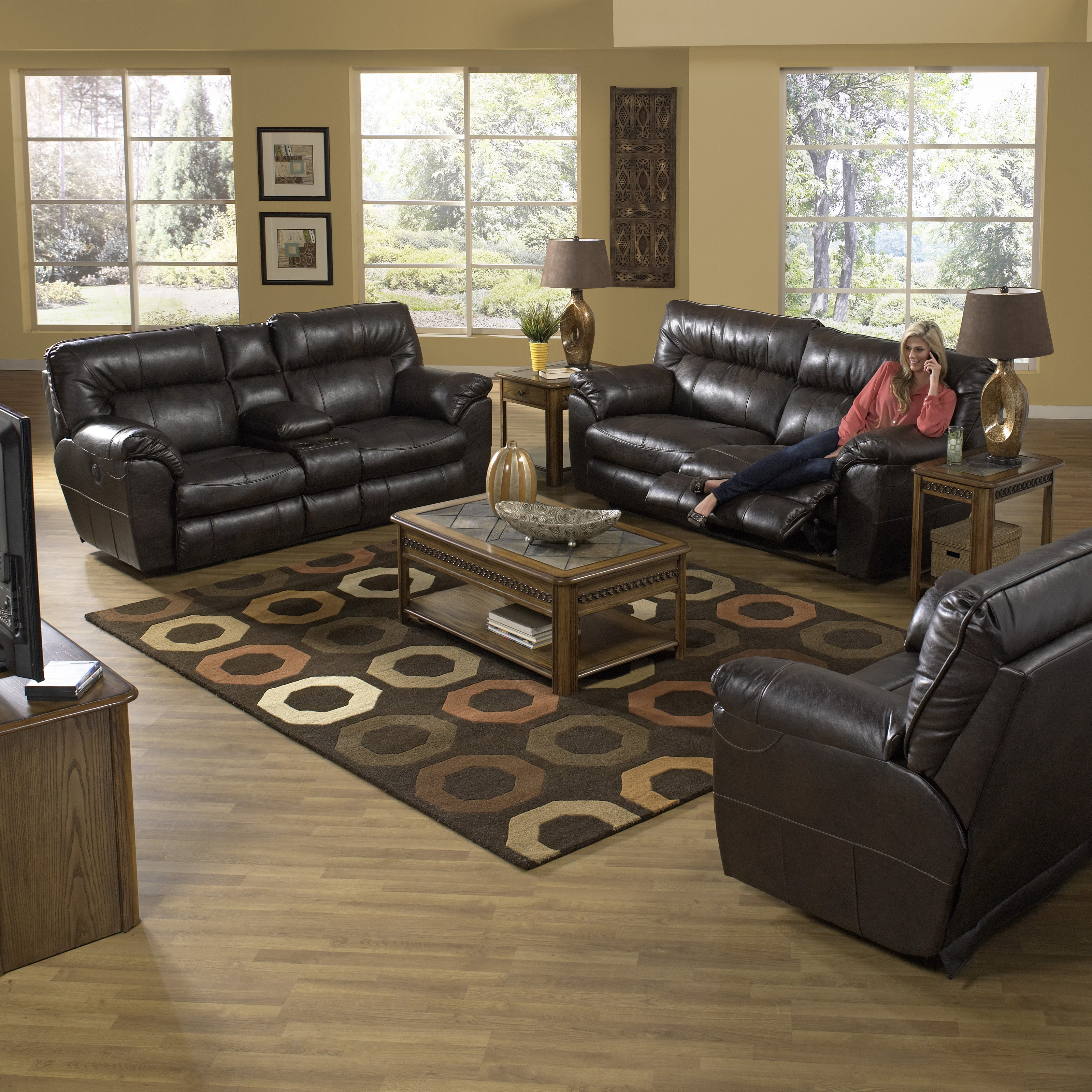 Catnapper Nolan Leather Reclining Sofa Set - Godiva