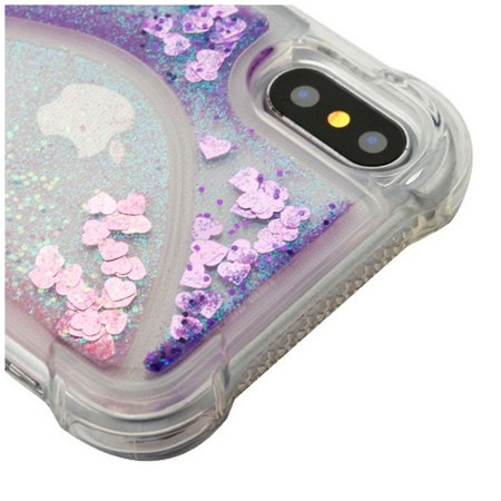 Apple iPhone X Case, by Insten Quicksand Glitter Hard Plastic/Soft TPU Rubber Clear Case Cover For Apple iPhone X, Purple/Pink - image 4 of 5