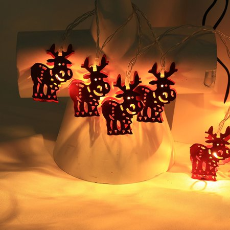 Iron Deer Battery 2M String Lights 10 LED Outdoor Indoor Christmas Tree Xmas ()