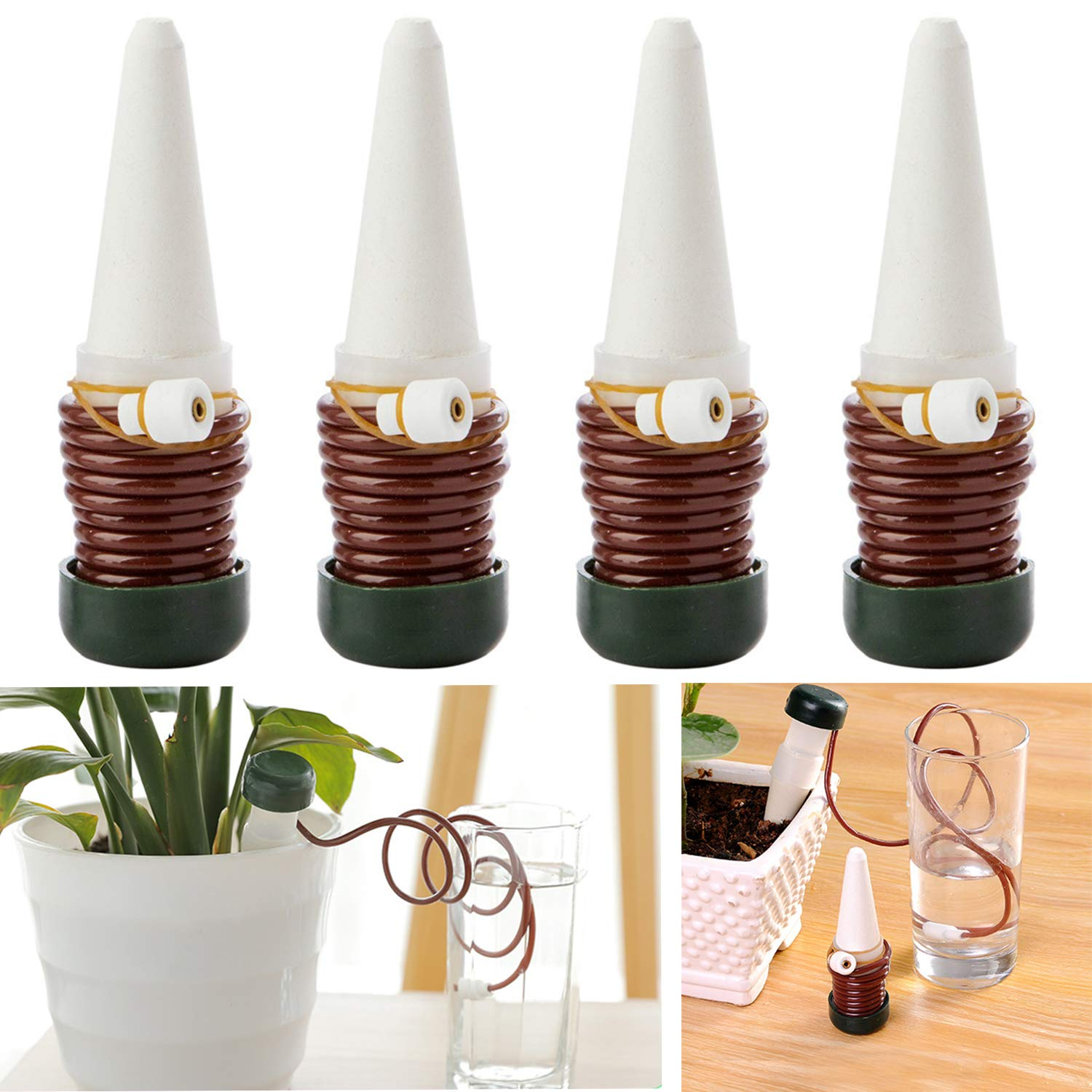 225 & 4 PCS Watering Stakes Vacation Plant Waterer Self Automatic Drip Irrigation Watering System Devices for Indoor or Outdoor Houseplants