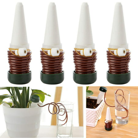 - 4 PCS Watering Stakes, Vacation Plant Waterer, Self Automatic Drip Irrigation Watering System Devices for Indoor or Outdoor Houseplants