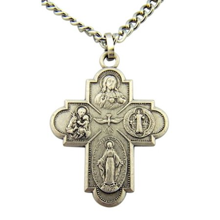 French Nickel Silver Four Way Cross Crucifix Medal Pendant, 1 3/8 (French Cross)