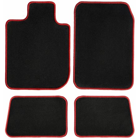 GGBAILEY Mercedes-Benz C-Class sedan Black with Red Edging Carpet Car Mats / Floor Mats, Custom Fit for 2008, 2009, 2010, 2011, 2012, 2013, 2014, 2015 - Driver, Passenger & Rear