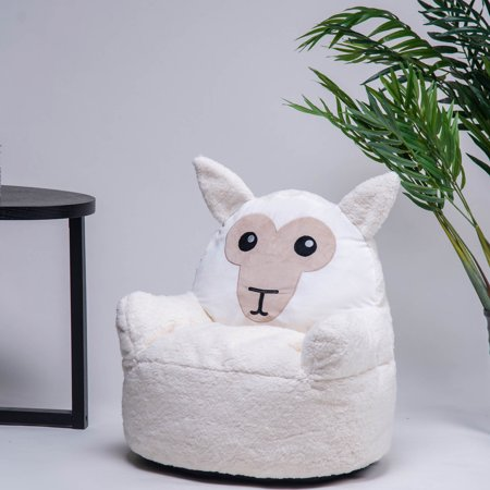 Kids Chair Clearance, Ultra Soft Memory Foam Furniture Bean Bag Chair, Cute White Goat Stuffed Plush Toys for Toddler/Infant/Baby, Great Birthday Gifts for Kids 9-12 Old Boys & Girls, Beige, S11257