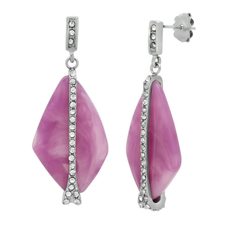 Women's Stainless Steel Pink Glass Fashion Stud