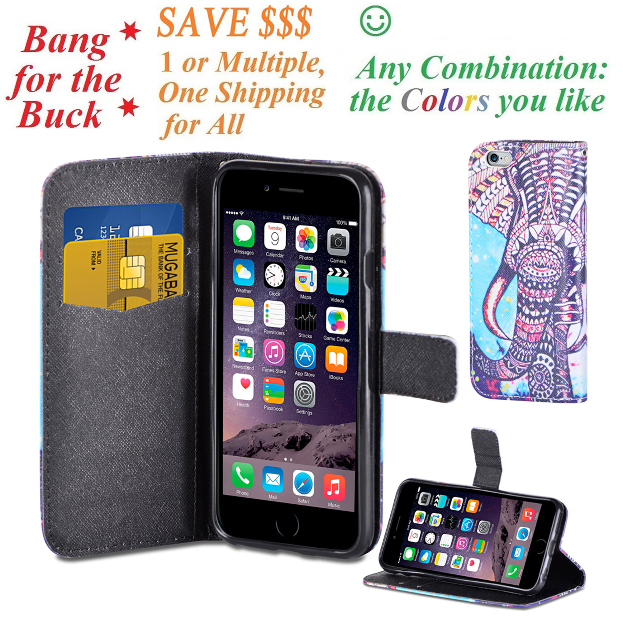 "~ Value Packing ~ for 5.5"" iPhone 6 PLUS 6 S PLUS Case Phone Case Hybrid Painted Wallet Fold Kick Stand Pouch Purse Screen Flip Cover Elephant"