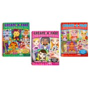 Create-A-Face Book Bundle (Funny Acres, Fashion Diva, Zanny Zoo) Spiral Bound Sticker Face Creative Arts Crafts Activity Kids