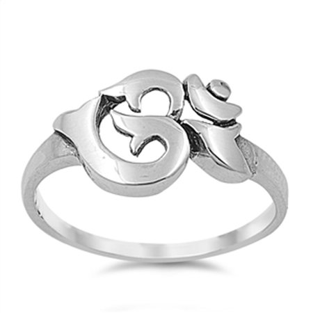 Aum Om Ohm Sanskrit Symbol Ring ( Sizes 4 5 6 7 8 9 10 ) .925 Sterling Silver Yoga Band Rings by Sac Silver (Size 8) (Om Symbol Ring)