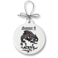 USMC Marine Corps Sempri Fi Chrome Dog-Christmas Tree Ornaments