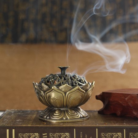 Home Chinese Lotus Incense Burner Holder Flower Statue Censer Room Decoration ()