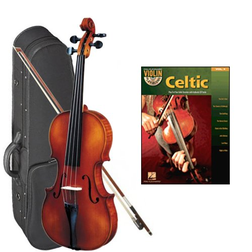 Strunal 1750 Student Violin Celtic Series Play Along Pack - 3/4 Size European Violin w/Case & Play Along Book