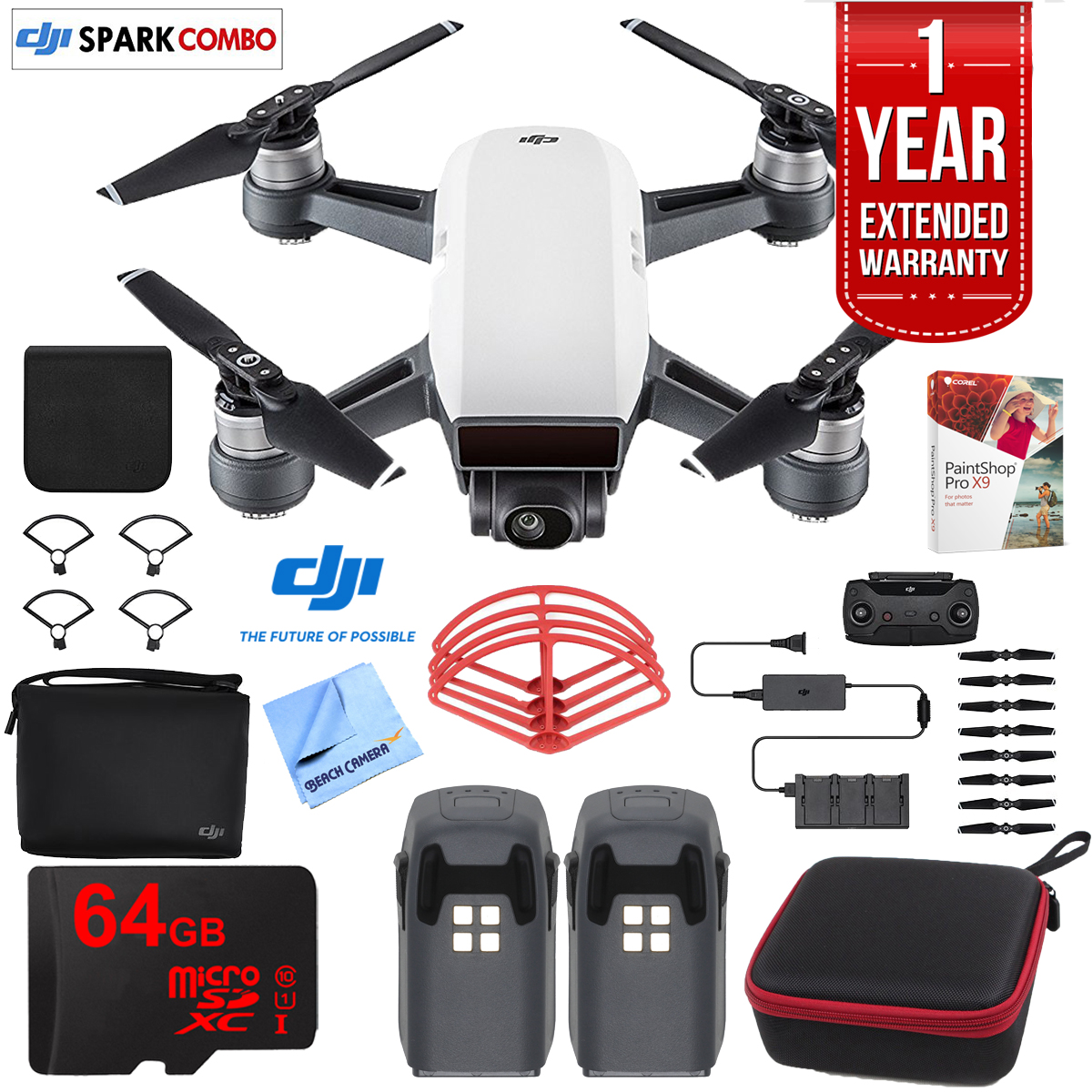 DJI SPARK Fly More Drone Combo (Alpine White) With Custom Hard Case, 64GB High Speed Card,... by DJI