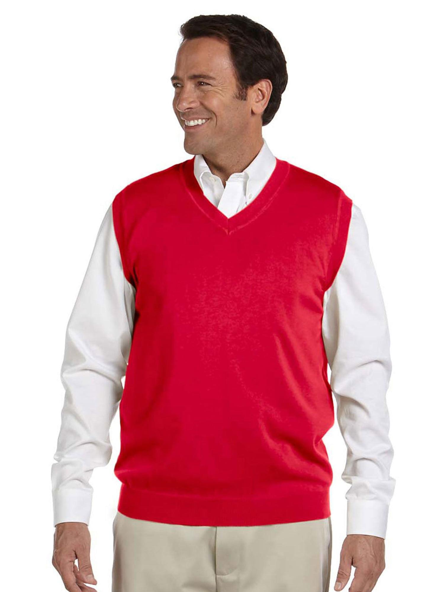 Devon & Jones Blue Men's Full Fashioning Lighter Weight V Neck Vest