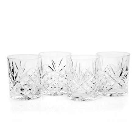 Dublin 8 oz. Leaded Crystal Double Old Fashioned Whiskey Glasses, Set of 4