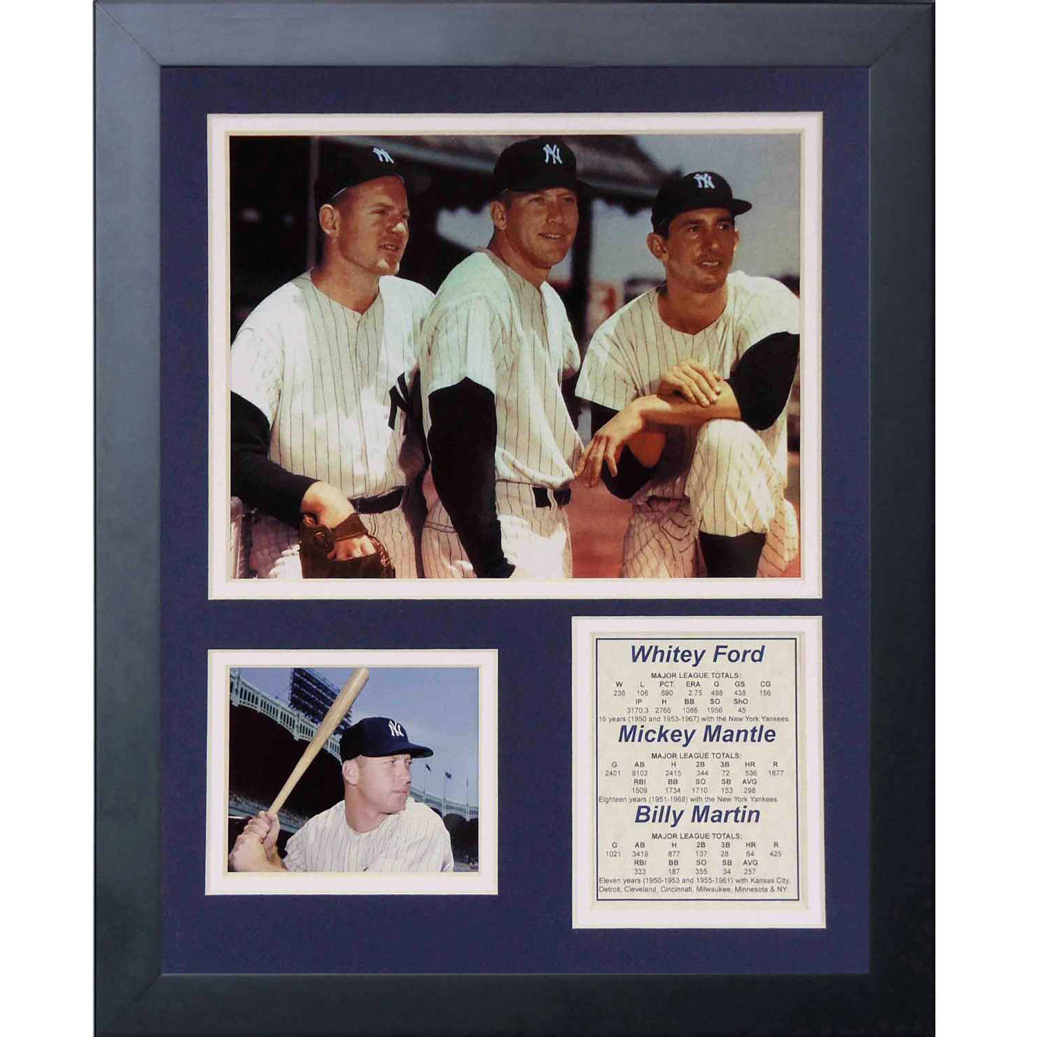 "Legends Never Die ""Whitey Ford, Mickey Mantle and Billy Martin"" Framed Photo Collage, 11"" x 14"""