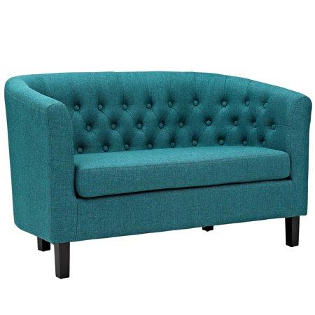 Modern Contemporary Urban Design Living Lounge Room Loveseat Sofa, Blue, Fabric Blue Fabric Seat