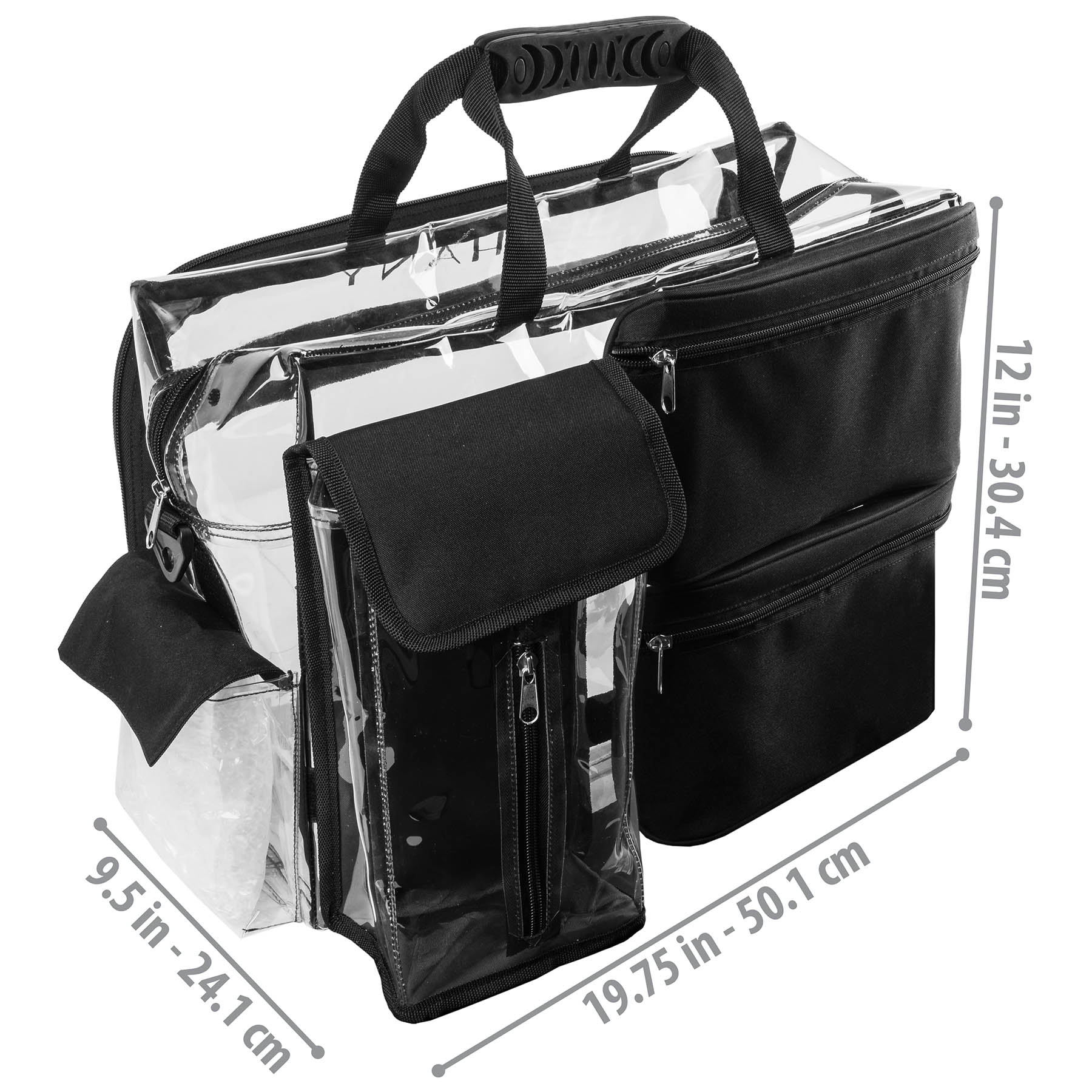 Shany Travel Makeup Artist Bag With Removable Compartments Clear Tote Detachable Pockets Organizer Black