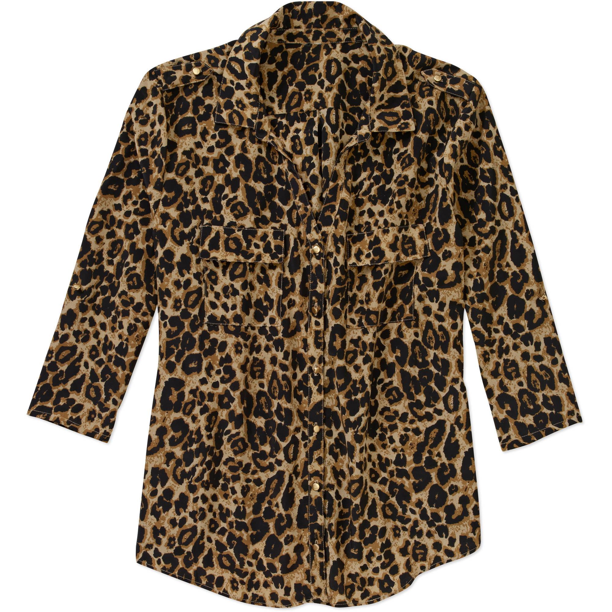 Women's Plus-Size Animal Print Shirt