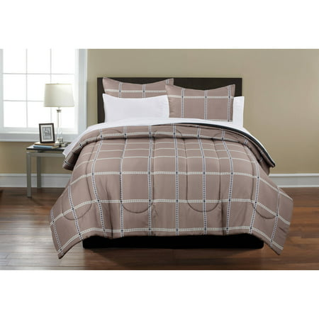 Mainstays Beige Plaid Bed in a Bag Coordinating 5-Piece Bedding Comforter Set, Twin