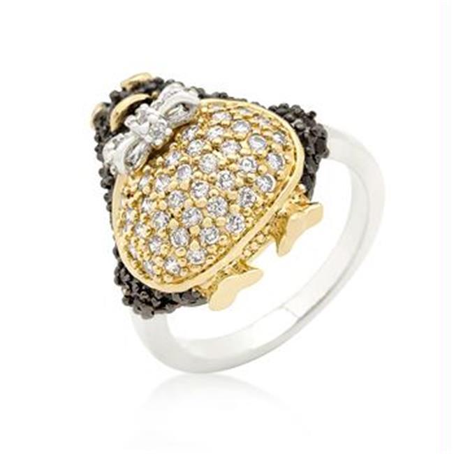 Jet Black CZ Penguin Ring, <b>Size :</b> 06