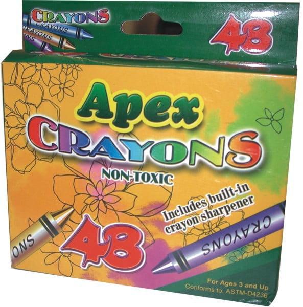 Apex Crayon 48 ct w/Sharpener Case Pack 48