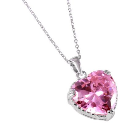 Pink Cubic Zirconia Heart Rope Necklace Rhodium Plated Sterling - Pink Heart Gift