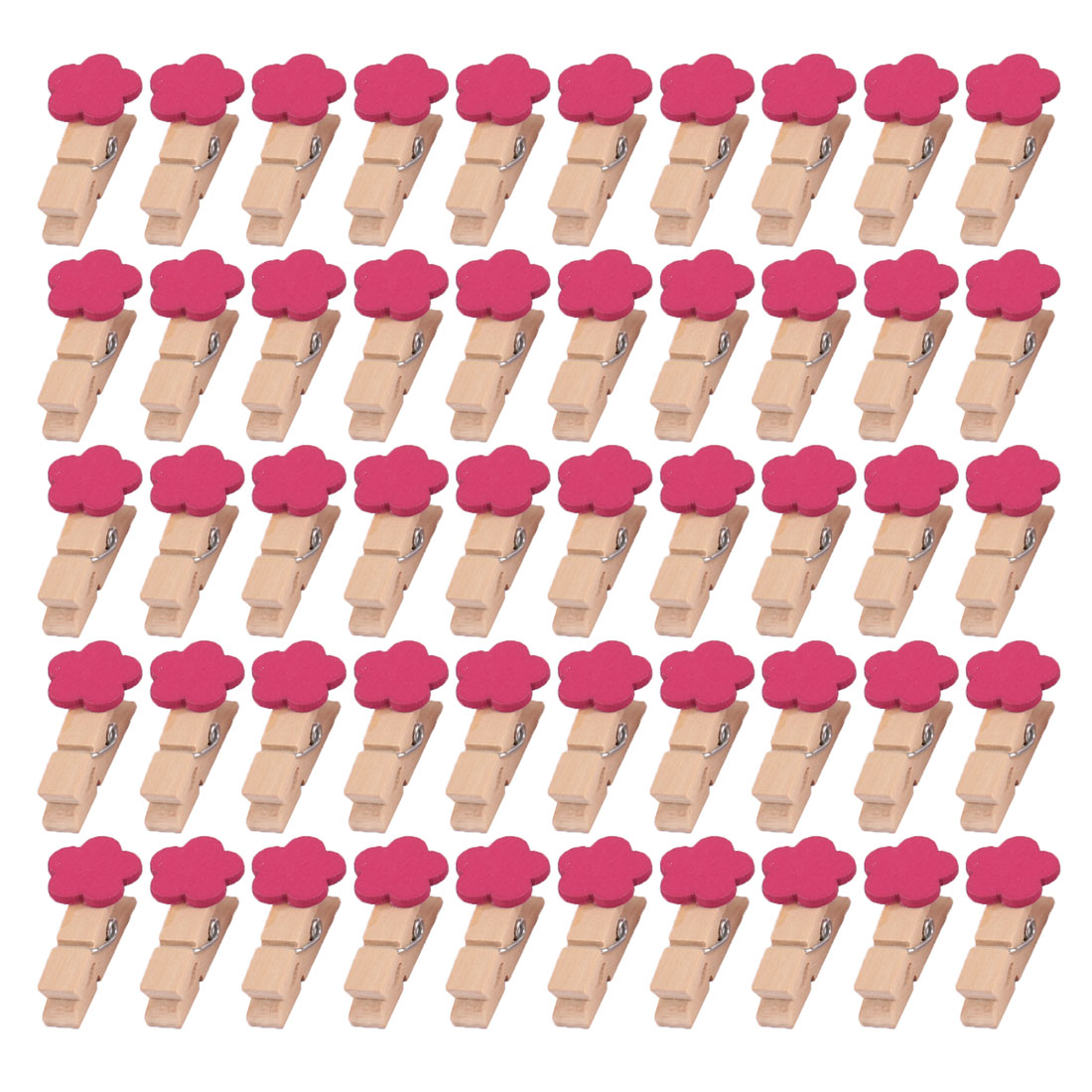 Wooden Flower Shaped DIY Decoration Picture Photo Painting Clip Fuchsia 50 Pcs
